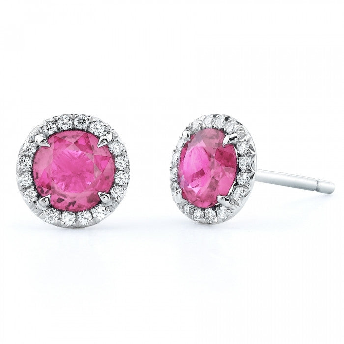 White Gold Pink Sapphire & Diamond Earrings