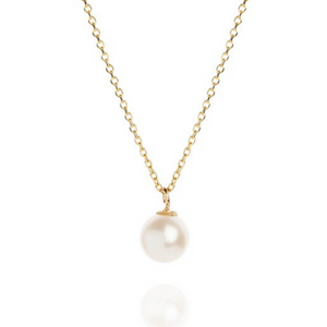 pearl drop yellow gold necklace