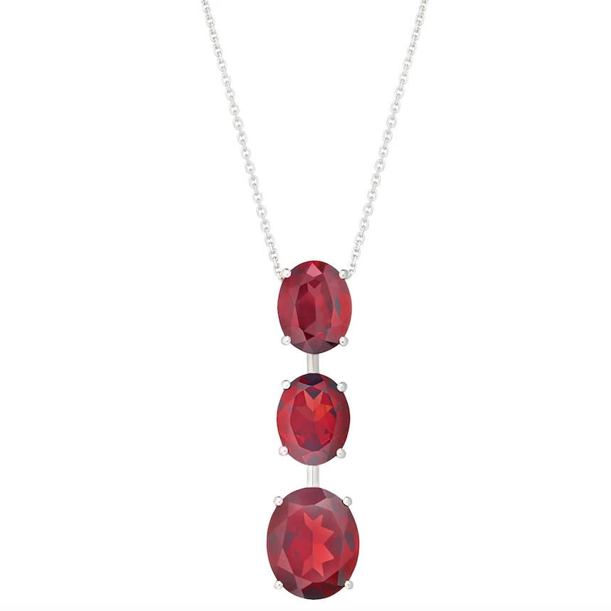 9ct White Gold Garnet Necklace