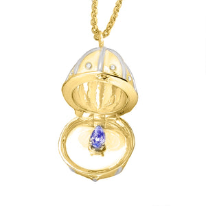 9ct Gold Diamond Egg Birthstone Pendant