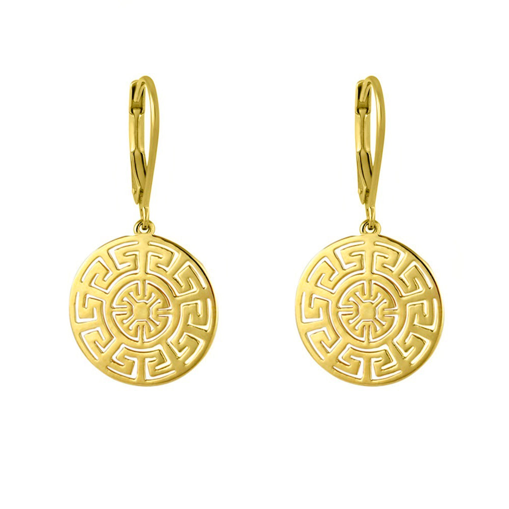 Yellow Gold Plate Geometric Earrings