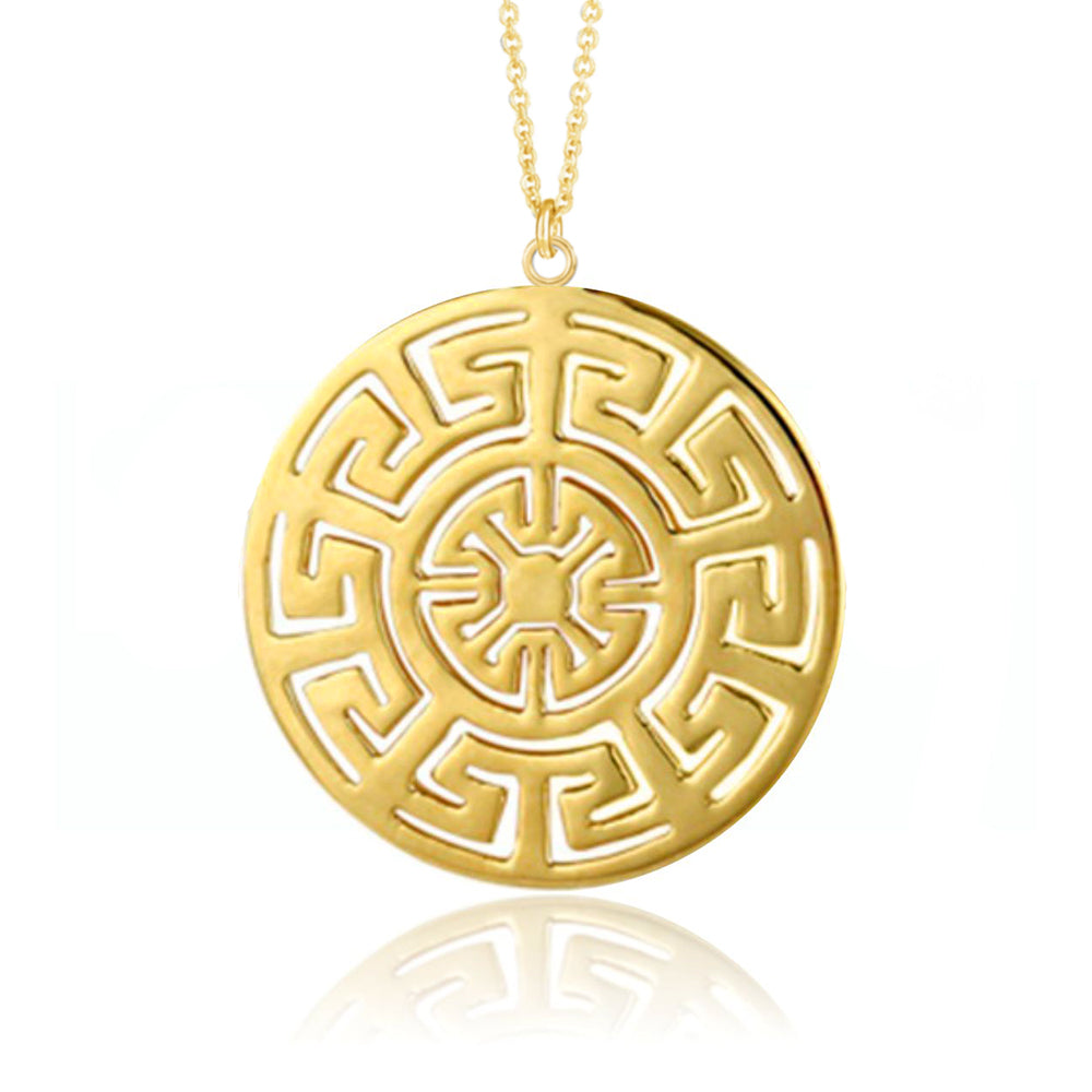 Yellow Gold Plate Geometric Pendant