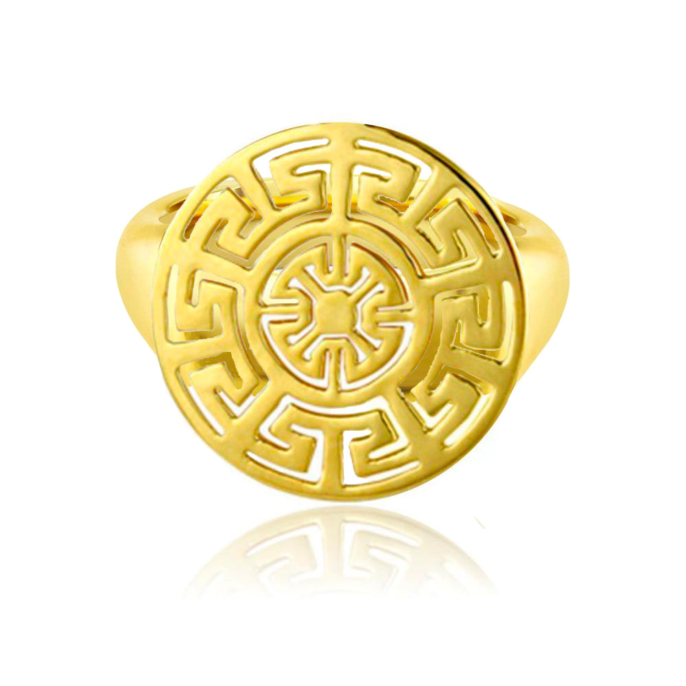 Yellow Gold Plate Geometric Ring
