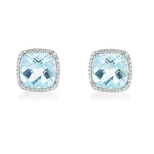 Load image into Gallery viewer, Aquamarine Diamond Halo Earrings
