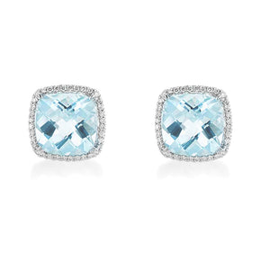 Aquamarine Diamond Halo Earrings