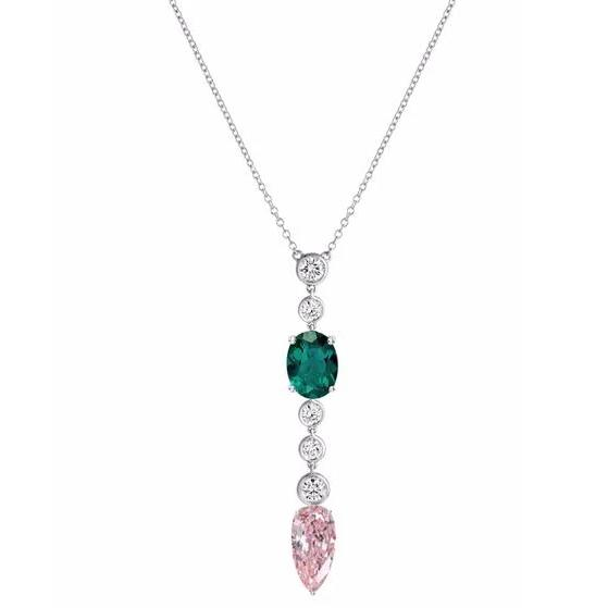 Chrome Green Tourmaline & Morganite Necklace