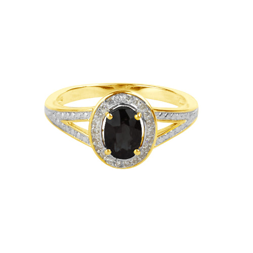 Gold Vintage Ring | Black Spinel Diamond Ring | Augustine Jewels