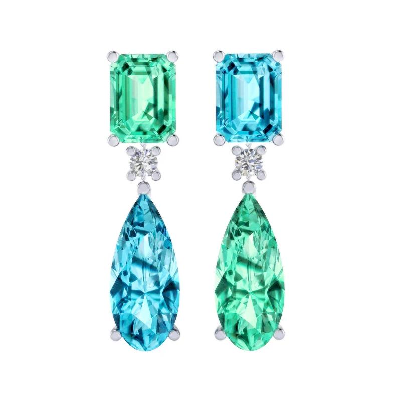 Green & Blue Aquamarine Earrings