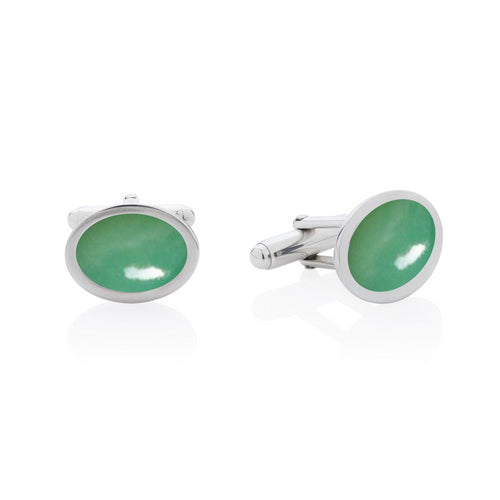 green chrysoprase cufflinks