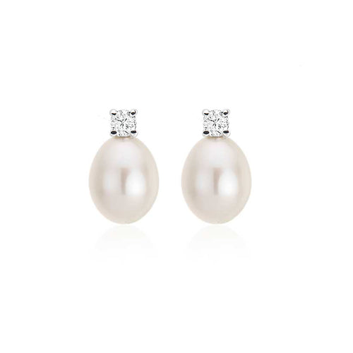 Pearl & Diamond Drop Earrings