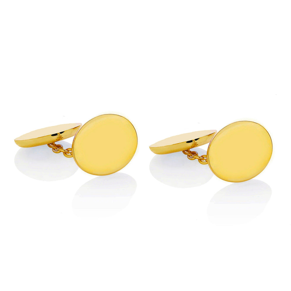 18ct Gold Engraved Initial Cufflinks