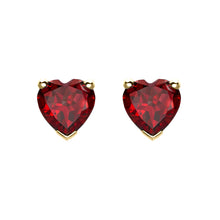 Load image into Gallery viewer, Yellow Gold Garnet Heart Earrings
