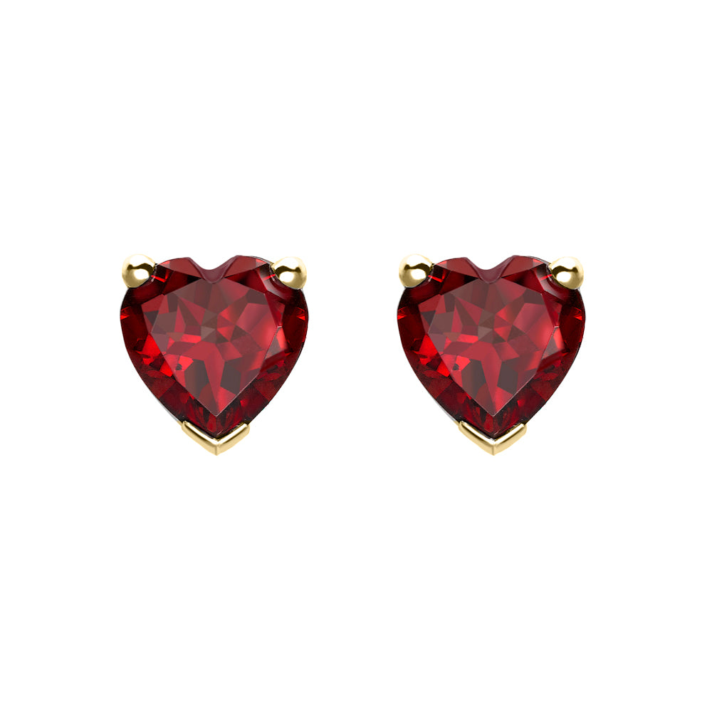 Yellow Gold Garnet Heart Earrings