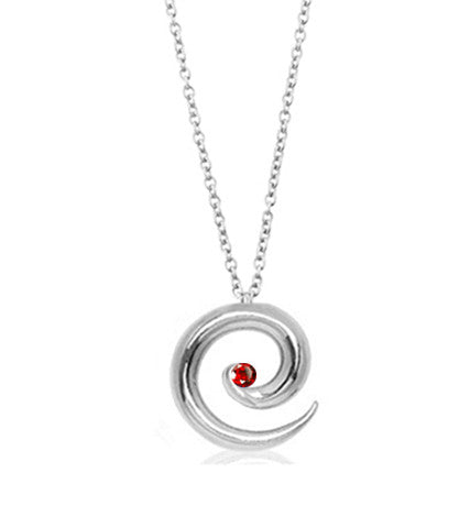 Silver and Ruby Spiral Necklace