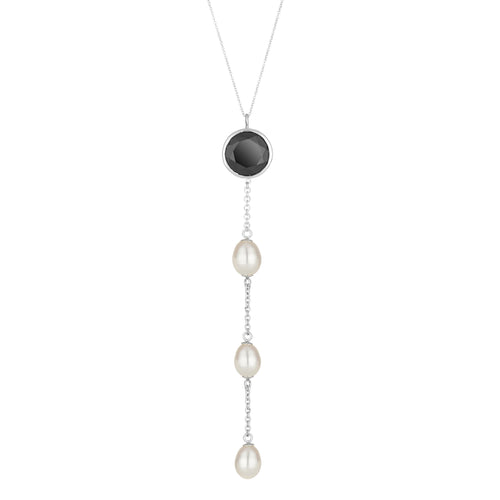 Spinel & Pearl Drop Necklace