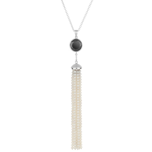 Spinel & Pearl Tassel Necklace