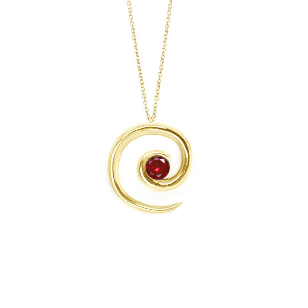 Yellow Gold Ruby Spiral Pendant