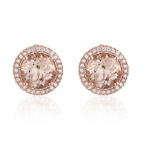 Rose Gold Morganite Halo Studs