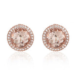 9ct Rose Gold and Morganite Halo Studs
