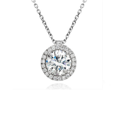 18ct White Gold Diamond Halo Necklace