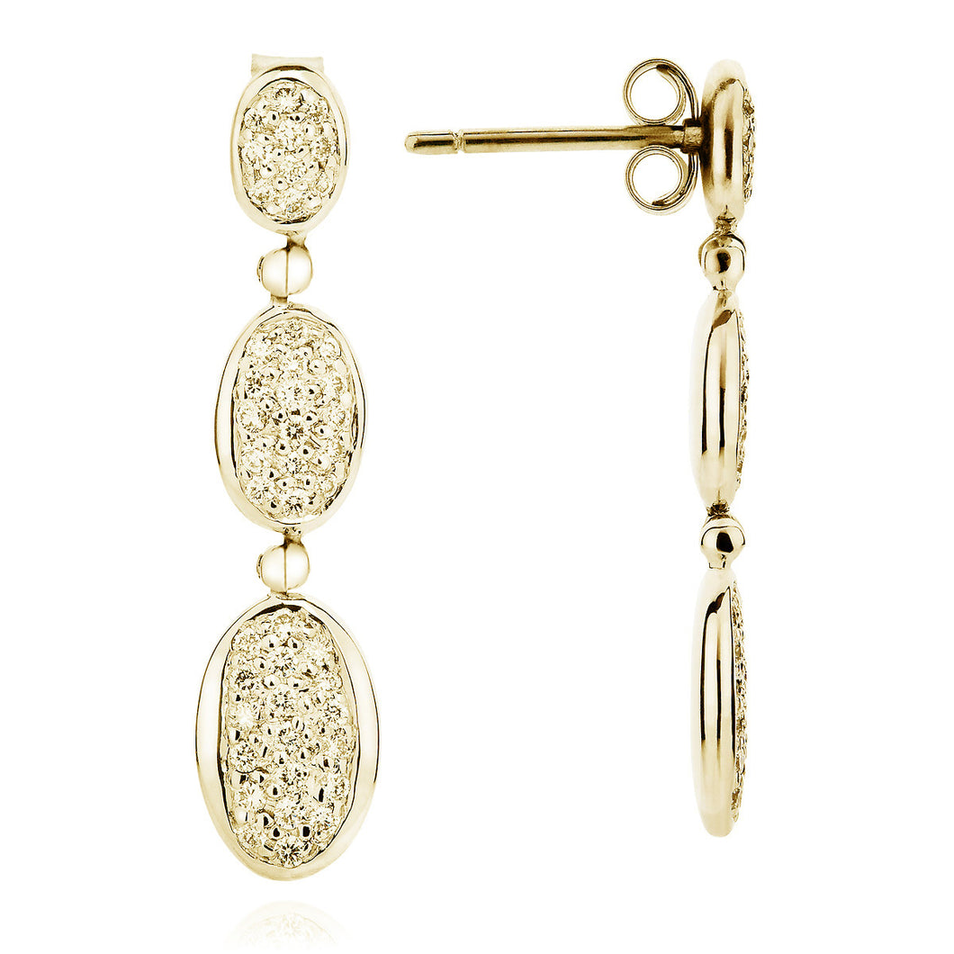 yellow gold pavé earrings