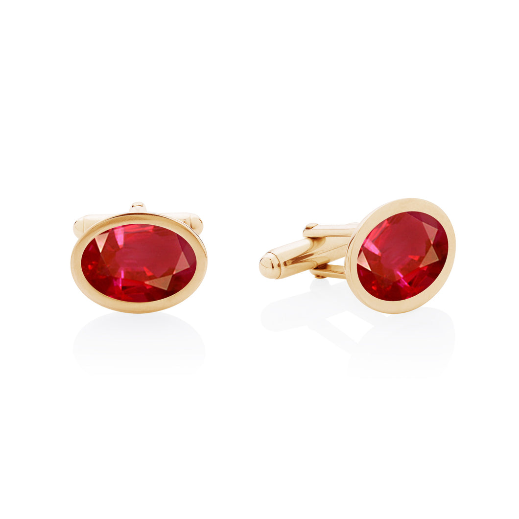 ruby yellow gold cufflinks