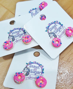 SWEET AS SUGAR EARRINGS - Pink Donut Studs