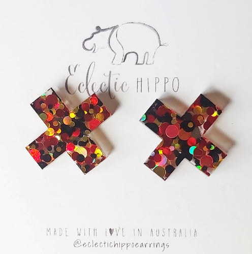 ECLECTIC HIPPO EARRINGS - Large Cross Studs- Ablaze
