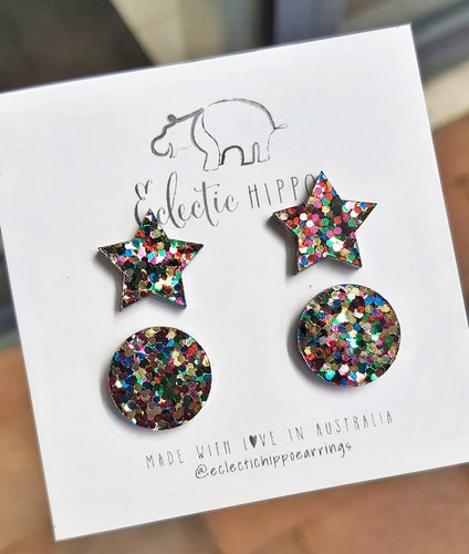 ECLECTIC HIPPO EARRINGS - PARTY FAVOURS - CONFETTI