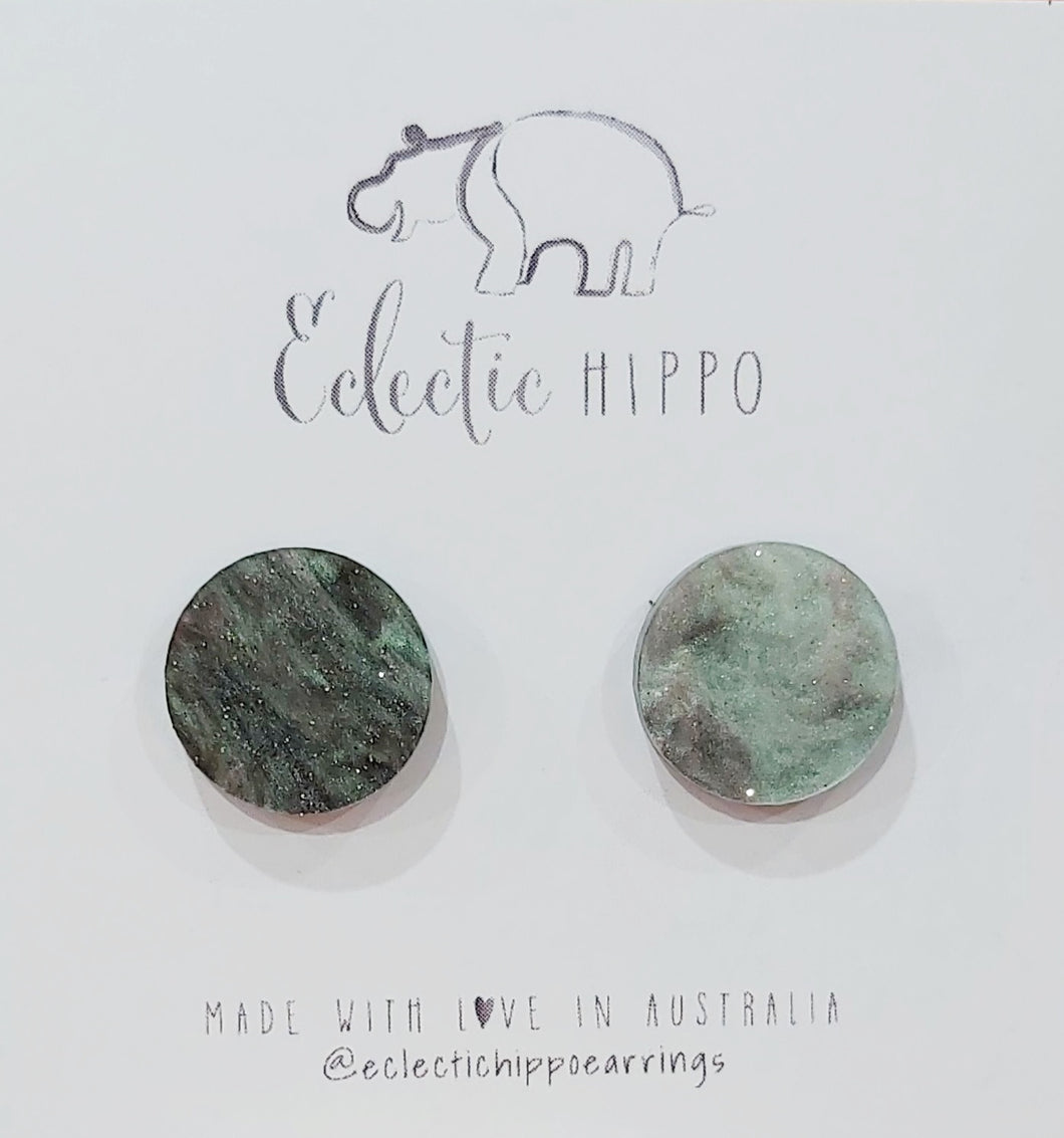 ECLECTIC HIPPO EARRINGS - STUDS - Stormy