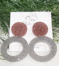 Load image into Gallery viewer, ECLECTIC HIPPO EARRINGS - FULL CIRCLE - GLITTER DANGLES