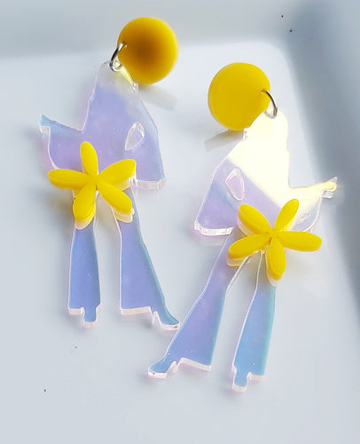 LOVE AND PEACE -STELLA DISCO QUEEN DANGLES - IRIDESCENT WITH YELLOW FEATURES