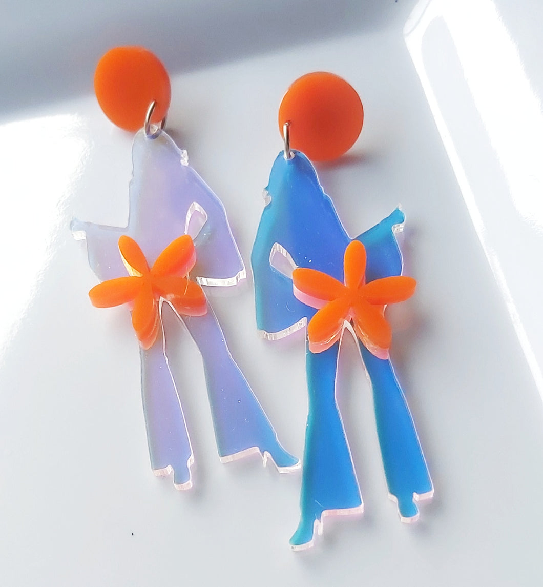 LOVE AND PEACE -STELLA DISCO QUEEN DANGLES - IRIDESCENT WITH ORANGE FEATURES