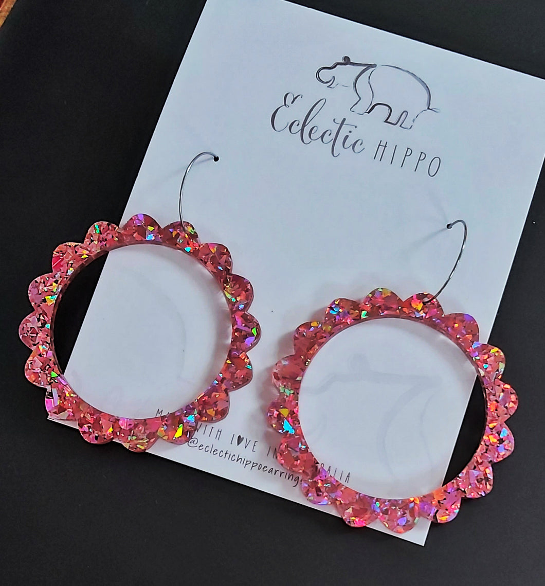 ECLECTIC HIPPO EARRINGS - MEGA SCALLOP HOOPS - CHUNKY PINK GLITTER