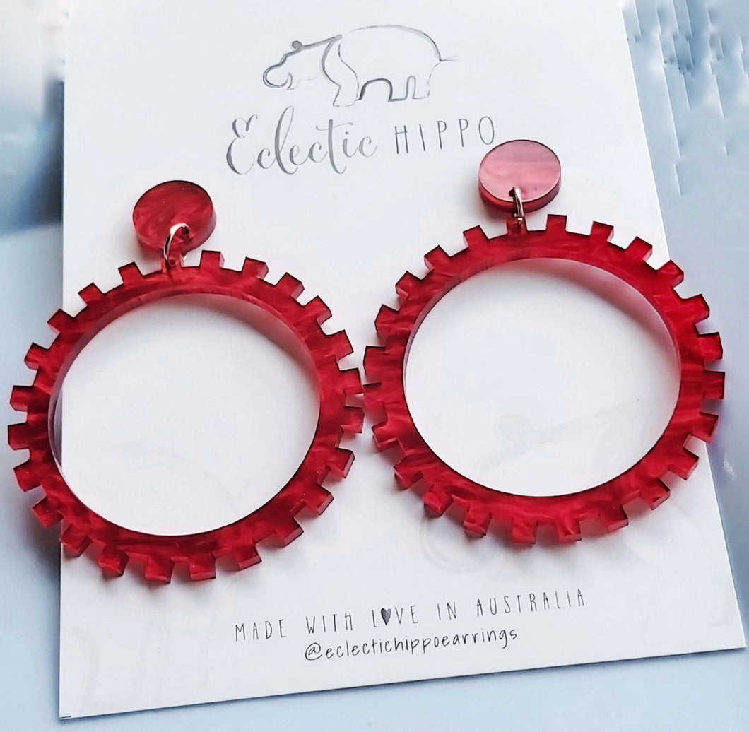 ECLECTIC HIPPO EARRINGS - RED RIPPLE COG DANGLES