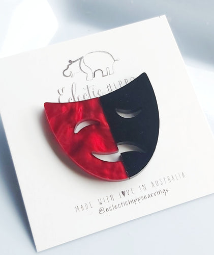 ECLECTIC HIPPO EARRINGS - DRAMA MASK - RED AND BLACK STUDS