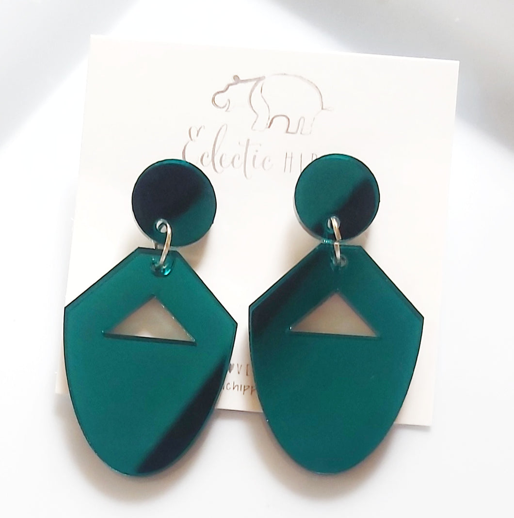 ECLECTIC HIPPO EARRINGS - TEAL MIRRORED DANGLES