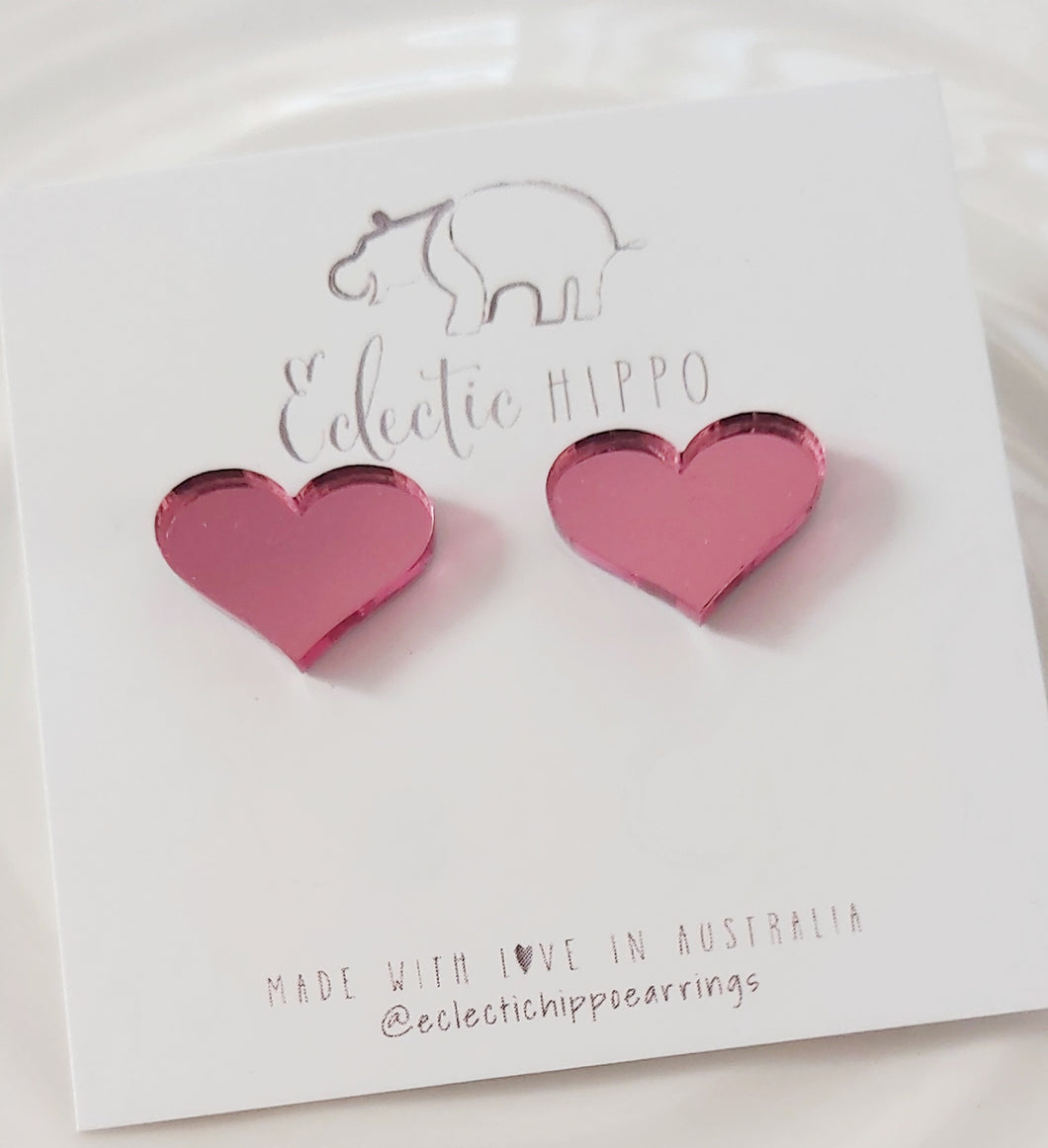 ECLECTIC HIPPO EARRINGS - HEART STUDS - (Choose between Pink Mirror or Pink Glitter)