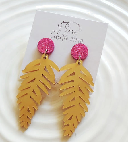 ECLECTIC HIPPO EARRINGS - Tropical Fern Dangles - Choose your Colour