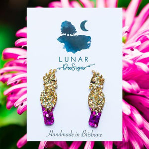 LUNAR DEESIGNS EARRINGS - GOLD FUSCHIA COCKATOO (Limited Edition)