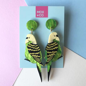 MOX AND CO EARRINGS - GREEN BUDGIE DANGLES