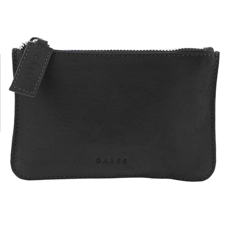 GABEE BAGS VILLAGE LEATHER COIN PURSE - Black