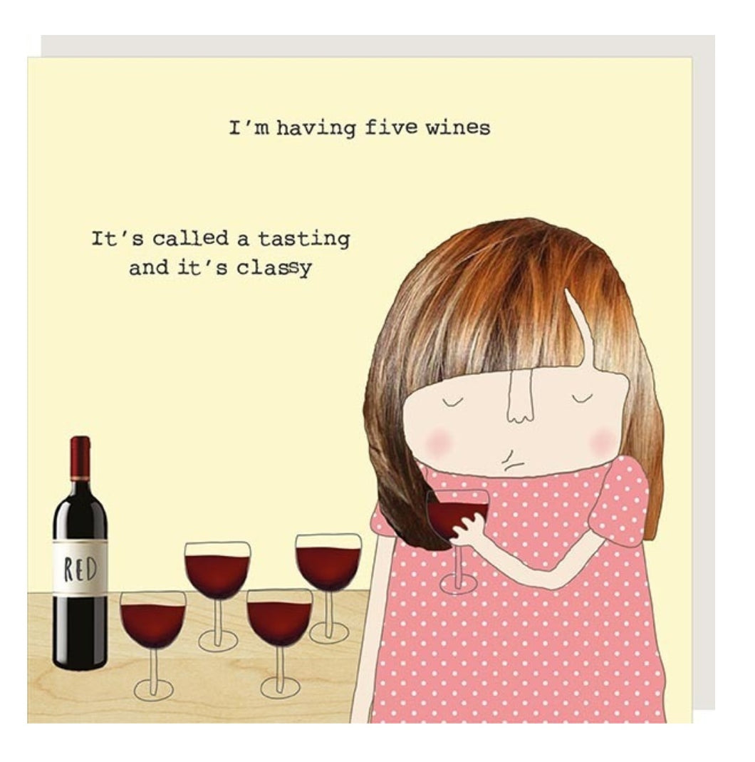 ROSIE MADE A THING GREETING CARD - WINE TASTING