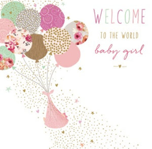 CARD - BIRTH OF BABY GIRL - BABY WITH BALLONS