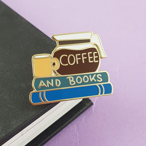 JUBLY-UMPH LAPEL PIN - COFFEE AND BOOKS