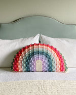 Load image into Gallery viewer, Juni Bobble Rainbow Pillow — Custom Double