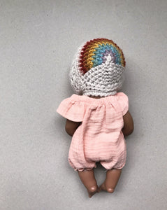 Doll Size Rivie Rainbow Bonnet