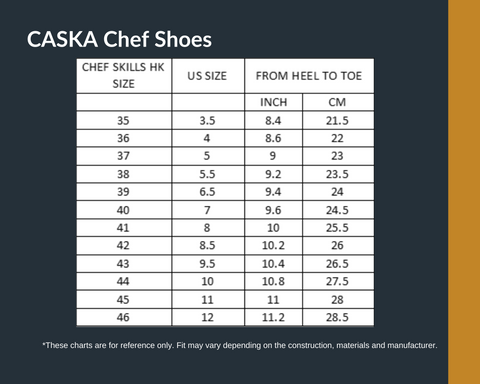 CASKA Chef Best Chef Shoes Chart Size | Chef Skills HK