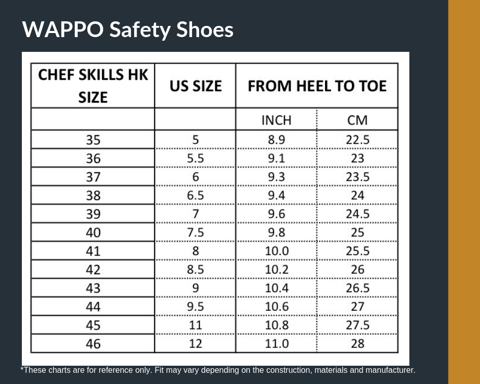 Chart Size chefskills wappo safety shoes