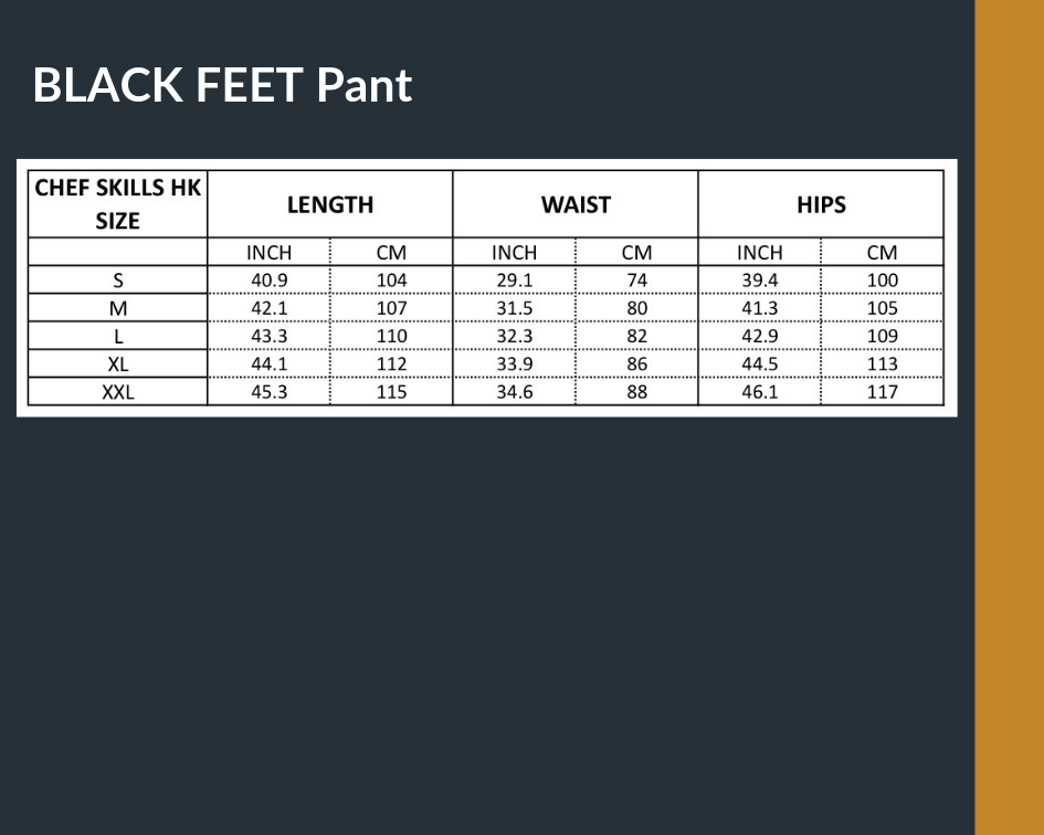 WOMEN Size Chart black feet pant